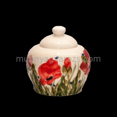 V.K.43-03 Tele virágos cukortartó,pipacs,kerámia,kézzel festett