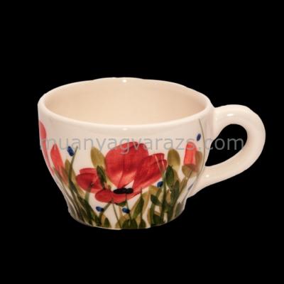 V.K.43-07 Tele virágos teáscsésze,pipacs,kerámia,kézzel festett