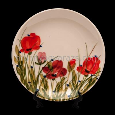 V.K.43-08 Tele virágos teás tányér,pipacs,kerámia,kézzel festett