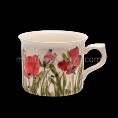 V.K.43-09 Tele virágos nagyibögre,pipacs,kerámia,kézzel festett