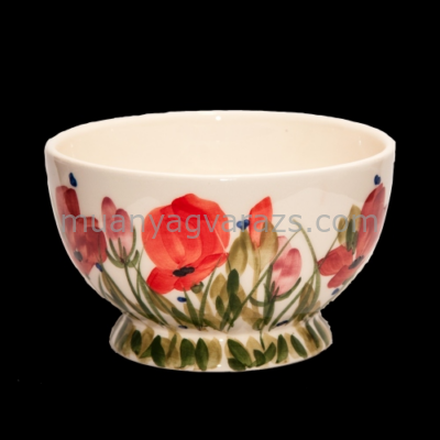 V.K.43-12 Tele virágos műzlistál,pipacs,kerámia,kézzel festett
