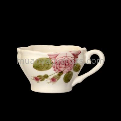 V.K.44-05 Romantik rózsás kávéscsésze,kerámia,kézzel festett