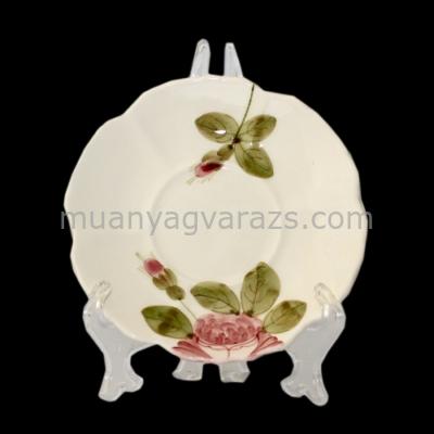 V.K.44-06 Romantik rózsás kávésalj,kerámia,kézzel festett