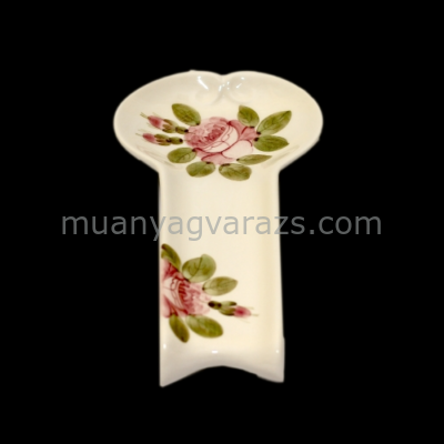 V.K.44-11 Romantik rózsás lapos fakanáltartó,kerámia,kézzel festett