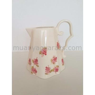V.K.50-01 Violin rózsás kanna,kerámia,kézzel festett