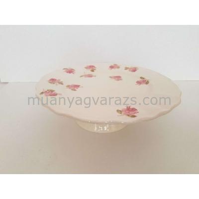 V.K.50-28 Violin rózsás tortatál,kerámia,kézzel festett