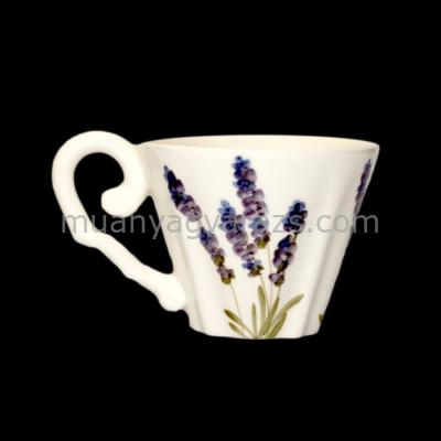 V.K.52-05 Violin levendulás kávés csésze,kerámia,kézzel festett