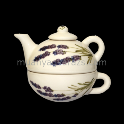 V.K.52-17 Violin levendulás egyszemélyes teás,kerámia,kézzel festett
