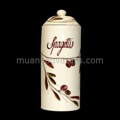V.K.36-20 Oaljbogyós spagettitartó,kerámia,kézzel festett