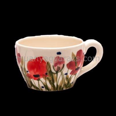 V.K.43-09-02 Tele virágos jumbó bögre,pipacs,kerámia,kézzel festett