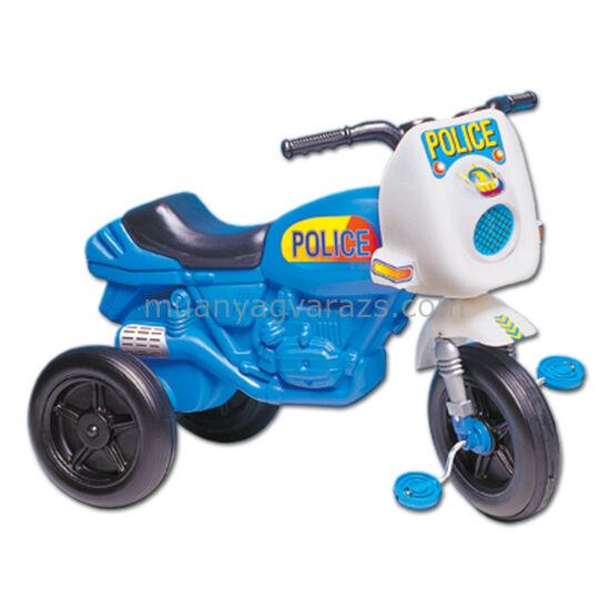 Pedálos, kék színű police motor