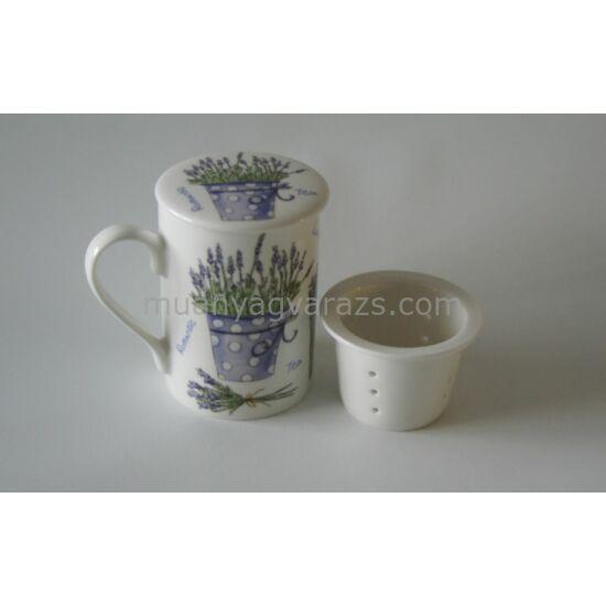 Gyógyteás porcelán bögre teatartóval