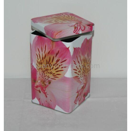 Virágos szögletes fémdoboz 11x11x18 cm