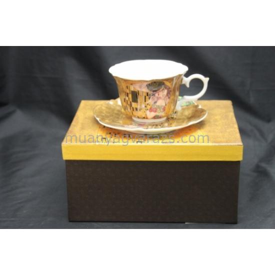 P.P.W3A01-21602 Porcelán csésze+alj, 200ml Klimt:The Kiss