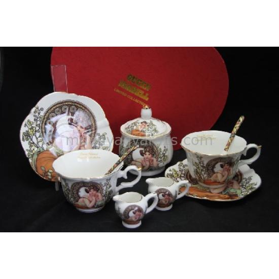 P.P.W5S26-15520 Porcelán teázós szett 2 személyes,230ml,Mucha :Topáz