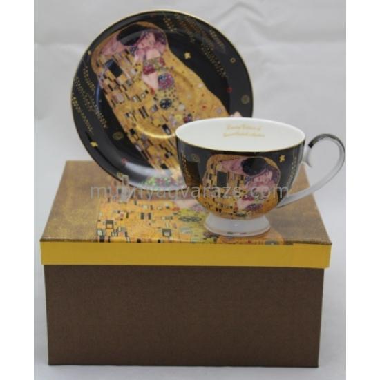 P.P.W6B55-11703 Porcelán csésze + alj 250ml, Klimt: The Kiss