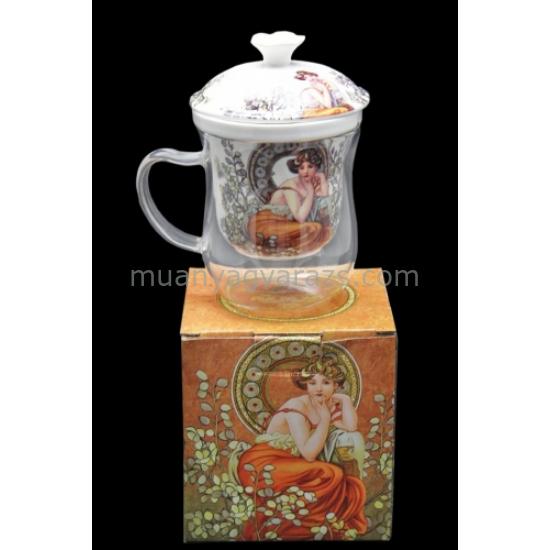 P.P.W6S49-12793 Üveg teásbögre porcelán szűrővel,tetővel,400 ml,Mucha: Topáz
