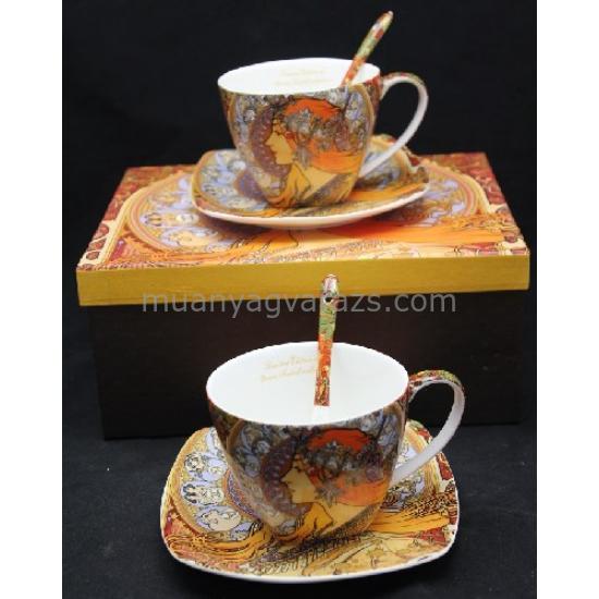 P.P.W6U60-17163 Porcelán csésze+alj kanállal 2 személyes 250ml,Mucha:Zoodiac