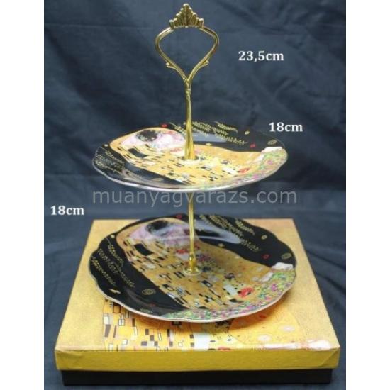 P.P.W7B13-12257 Porcelán süteményes kínáló 2 emeletes 23,5x18cm, Klimt: The Kiss , fekete