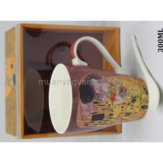 P.P.P171-08335 Porcelán bögre 300ml,kanállal,Klimt:The Kiss