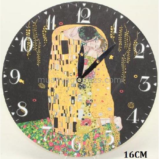 P.P.W7B78-00315 Óra 16cm,fa,Klimt:The Kiss,fekete