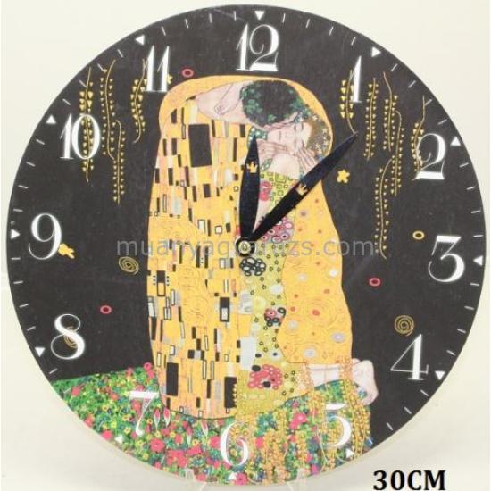 P.P.W7B79-00322 Óra 30cm, fa, Klimt: The Kiss , fekete