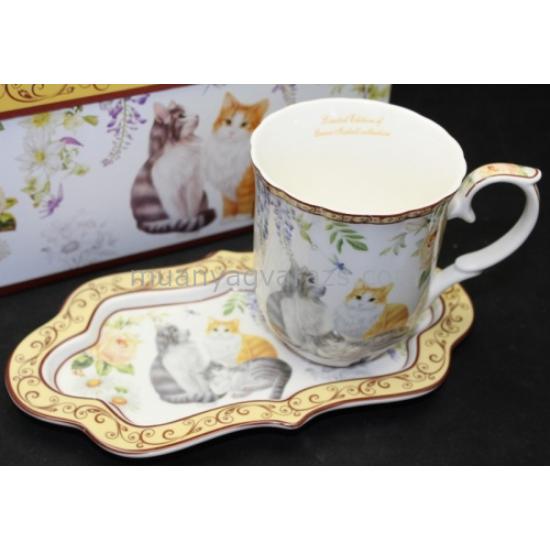 P.P.W7CT275-00421 Porcelán bögre oldaltálcával,400ml,3 macska