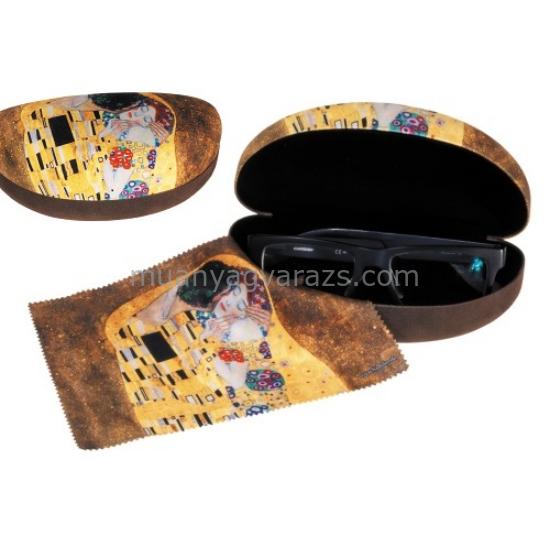 FRI.12591 Szemüvegtok textil bevonatú,törlőkendővel,16,5x6,5x8cm,Klimt:The kiss