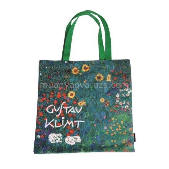 FRI.12711 Textil bevásárló táska 38x40cm,Klimt:Kert napraforgókkal