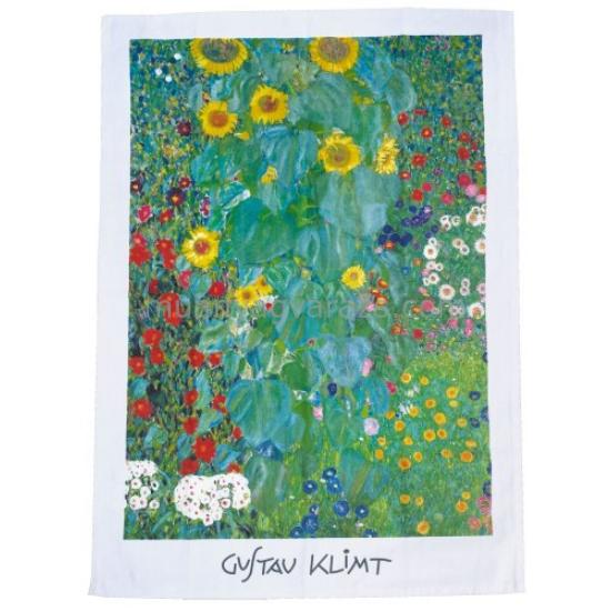 FRI.12912 Pamut konyharuha 45x65cm,Klimt:Kert napraforgókkal