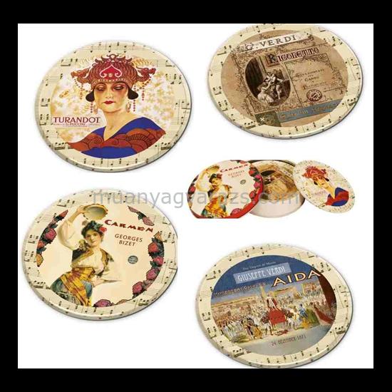 FRI.17941 Poháralátét fém-parafa 4db-os szett dia 9,5cm,fémdobozban,Opera