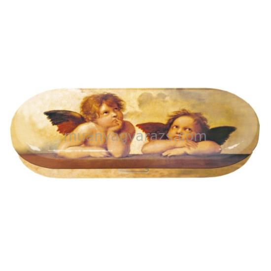 FRI.18756 Szemüvegtok fémdoboz, 16x2,8x6,6cm, Raffael angyalok