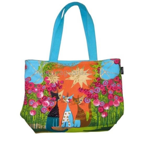FRI.40380 Textil bevásárló táska 38x27,5x11cm,Rosina Wachtmeister:Flower Cat