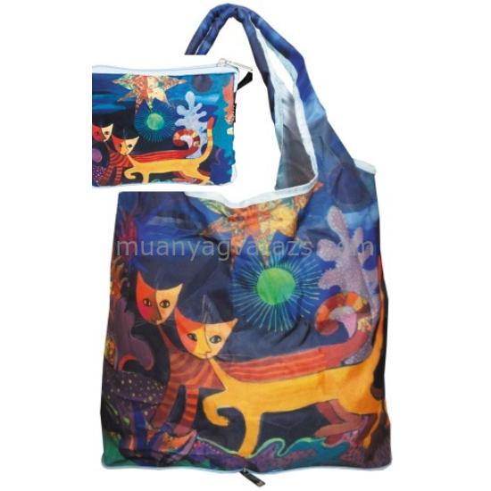 FRI.40511 Táska a táskában,nylon,Rosina Wachmeister:Wonderland,42x48cm,összehajtva:16x13cm