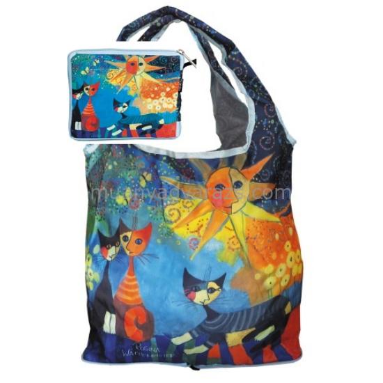 FRI.40512 Táska a táskában,nylon,Rosina Wachtmeister:Dolce Vita,42x48cm,összehajtva:16x13cm