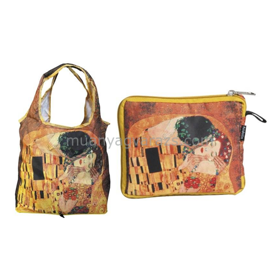 FRI.40516 Összezárható bevásárlótáska,nylon,Klimt:The Kiss,42x48cm,összehajtva 16x13cm