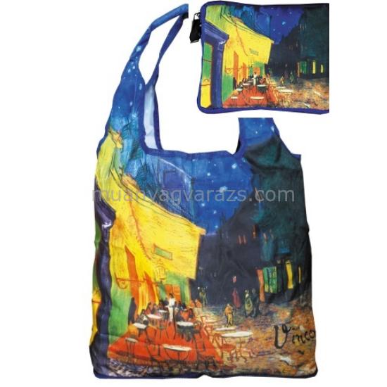FRI.40536 Táska a táskában,nylon,Van Gogh:Kávéház éjjel,Összehajtva:16x13cm