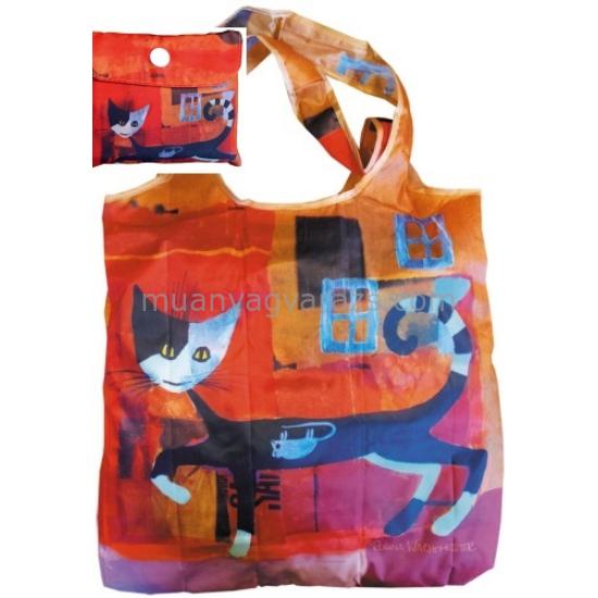 FRI.40712 Összezárható bevásárló táska,Rosina Wachtmeister:Ivano with mouse,40x40cm,összehajtva:9x9cm