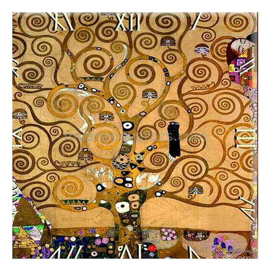 D.I.19-07 Üveg falióra 30x30cm, Klimt: Életfa