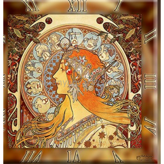 D.I.19-10 Üveg falióra 30x30cm, Mucha: Zodiac