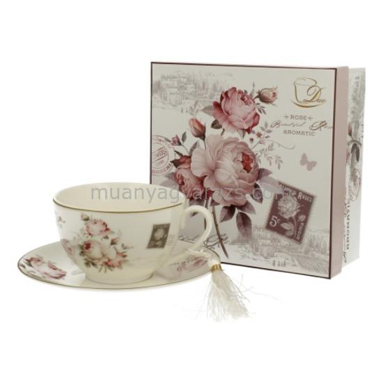 D.G.00504 Porcelán teáscsésze+alj 250ml,dobozban,Secesja