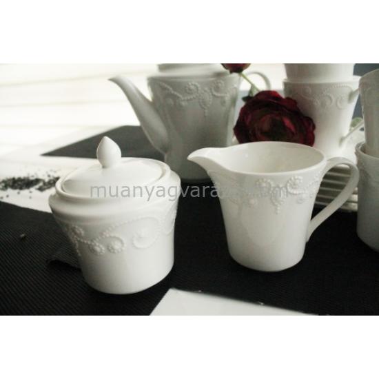 D.G.00634-ING Porcelán teás szett 15db-os,6 személyes ( 200ml ), Ing