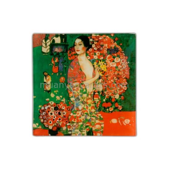H.C.198-1017 Üvegtányér 13x13cm,Klimt:A táncos