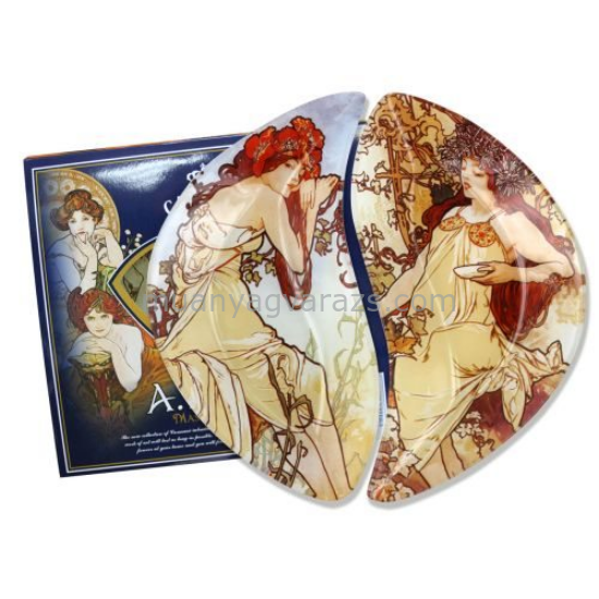H.C.198-7025 Üvegtányér szett 2 részes 21x12cm,Mucha:Nyár,Ősz