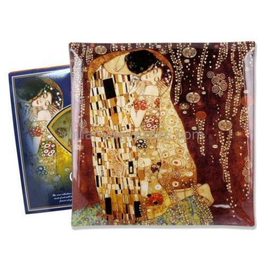 H.C.198-8011 Üvegtányér 25x25x7cm,Klimt:The Kiss