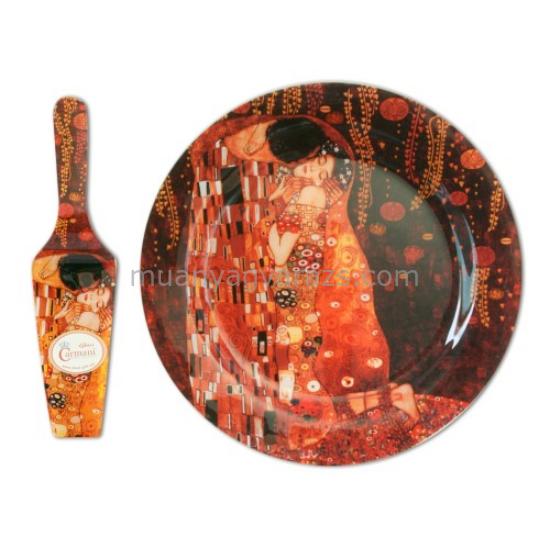 """H.C.198-1701 Üvegtányér lapáttal 30cm, """"Klimt:The Kiss"""""""
