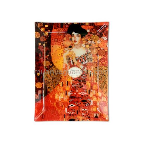 "H.C.198-1105 Üvegtányér 32x24cm ""Klimt:Adele Bloch"""