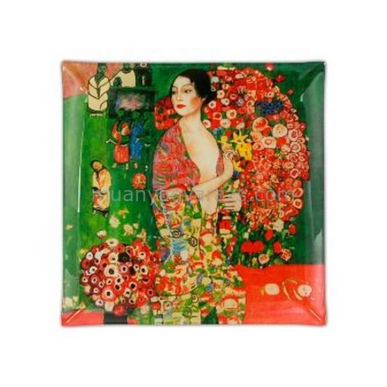 """H.C.198-1117 Üvegtányér 25x25cm """" Klimt: A táncos """""""