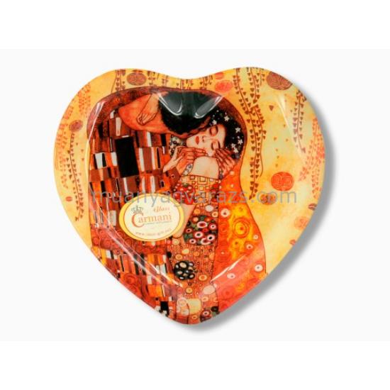 H.C.198-1403 Üvegtányér szív 25x23cm Klimt:The Kiss