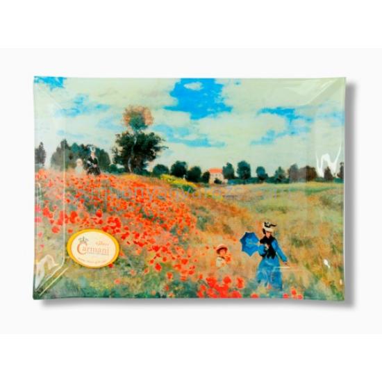 H.C.198-4002 Üvegtányér 20x28cm, Monet: Pipacsmező